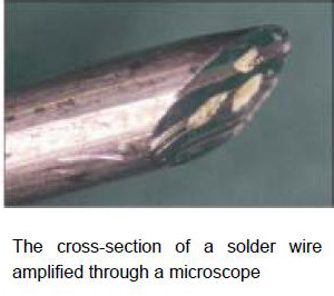 The cross-section of a solder wire amplified through a microscope