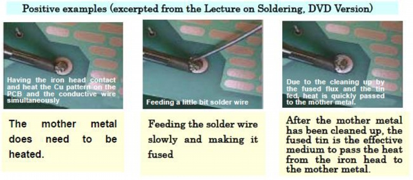 Positive examples (excerpted from the Lecture on Soldering, DVD Version)