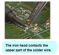 The iron head contacts the
